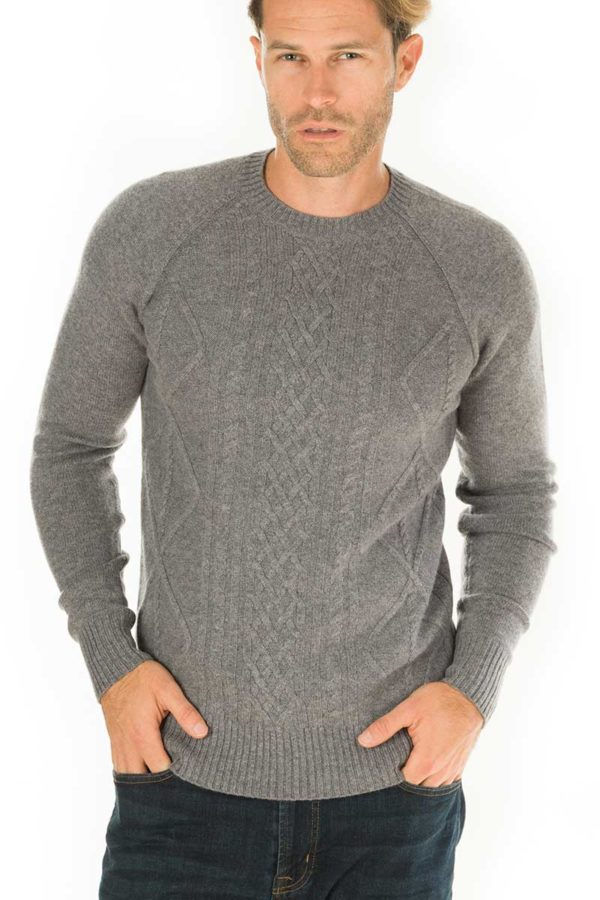 Sunday Cashmere Blend Cable Knit Crew  - Heather Grey MrQuintessential