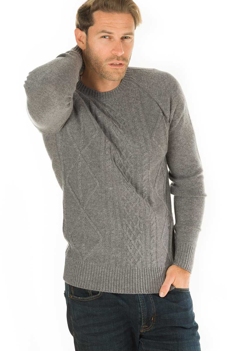 Sunday Cashmere Blend Cable Knit Crew Heather Grey