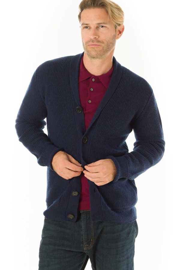 Woodbury Shawl Neck Cardigan - Denim Blue MrQuintessential